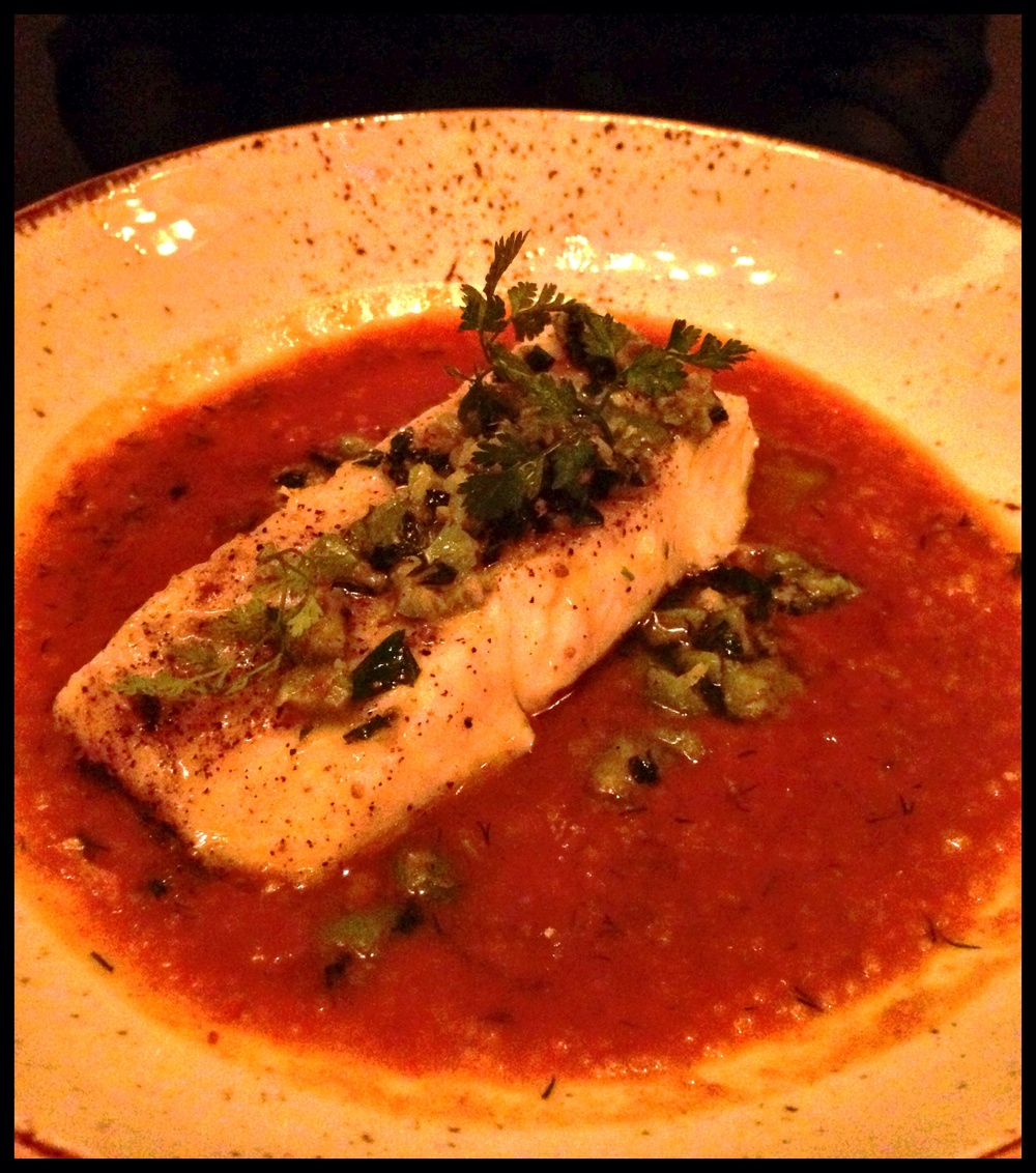 Steamed Halibut - Sicilian olives, mint, anchovy, saffron-tomato broth, cous cous