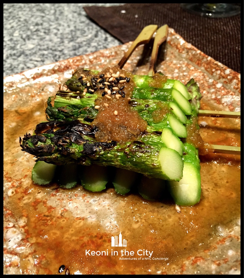 Grilled asparagus with wafu