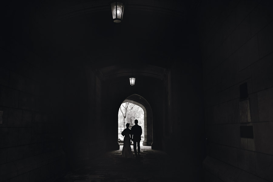Wedding photograph at the campus of The University of Chicago, Chicago, IL. May 21, 2011
