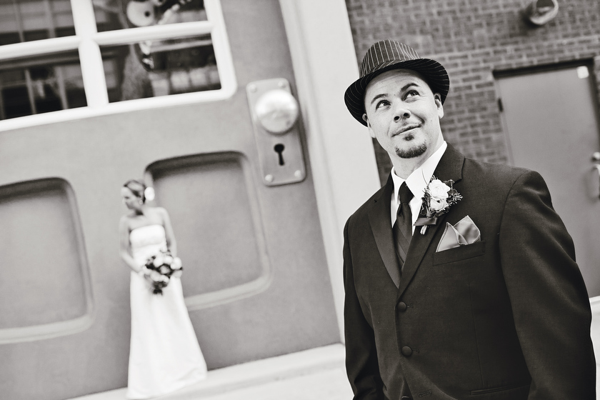Wedding photograph at A street scene in the West Loop, Chicago, IL. September 10, 2011