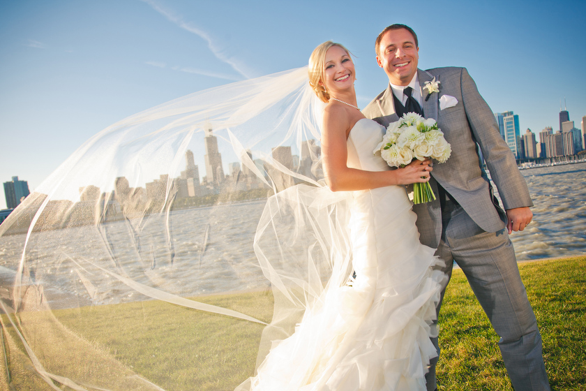 Wedding photograph at Chicago Lakefront-Adler Planetarium, Chicago, IL. October 1, 2011