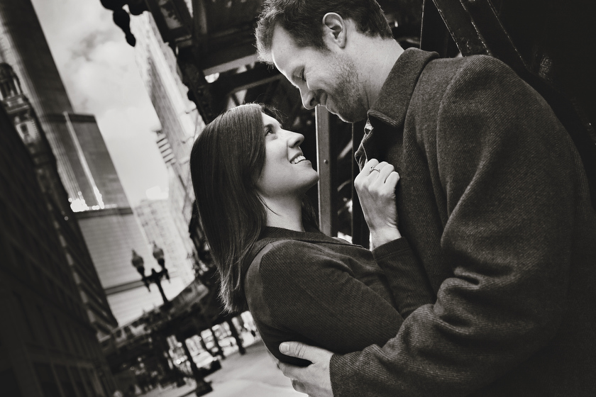 Engagement portrait on location. the Chicago Loop, Chicago, IL. October 29, 2011.