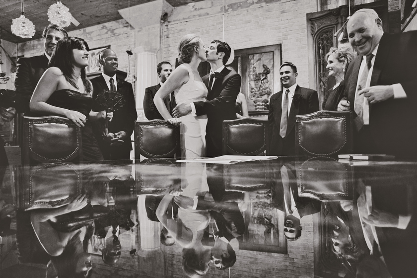 Wedding photograph at Architectural Artifacts, Chicago, IL. November 12, 2011