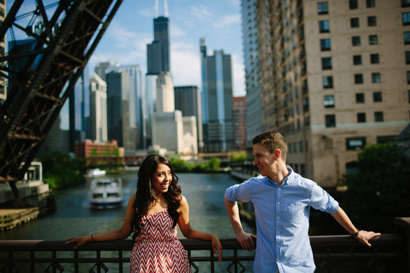 Engagement portrait on location. Kinzie Street Bridge, Chicago, IL. May 30, 2012.