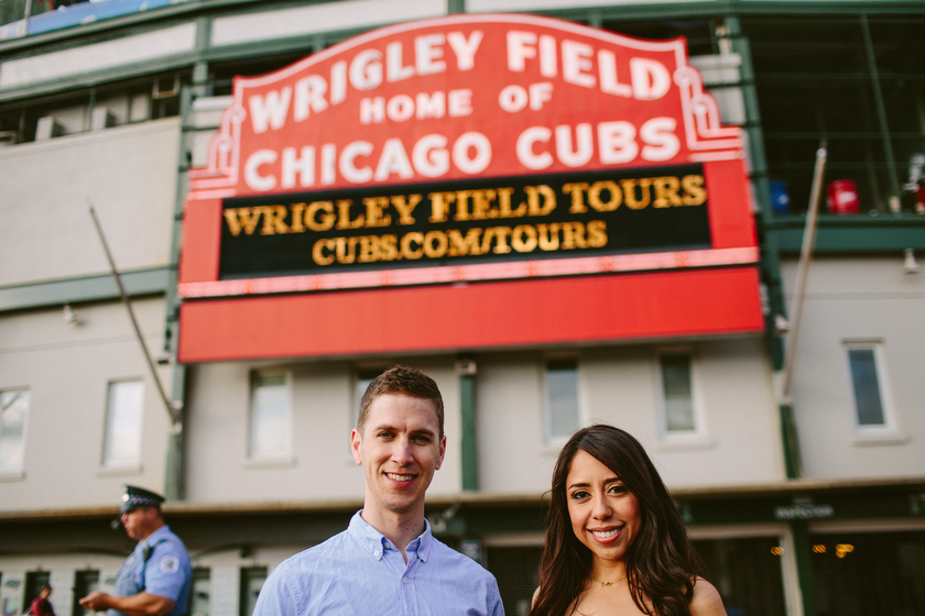 Engagement portrait on location. Wrigley Field, Chicago, IL. May 30, 2012.