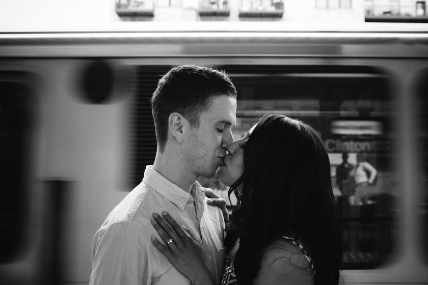 Engagement portrait on location. Lake & Canal El Stop, Chicago, IL. May 30, 2012.