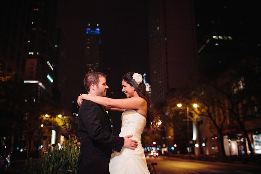 Wedding photograph at Michigan Avenue/Magnificent Mile, Chicago, IL. April 28, 2012