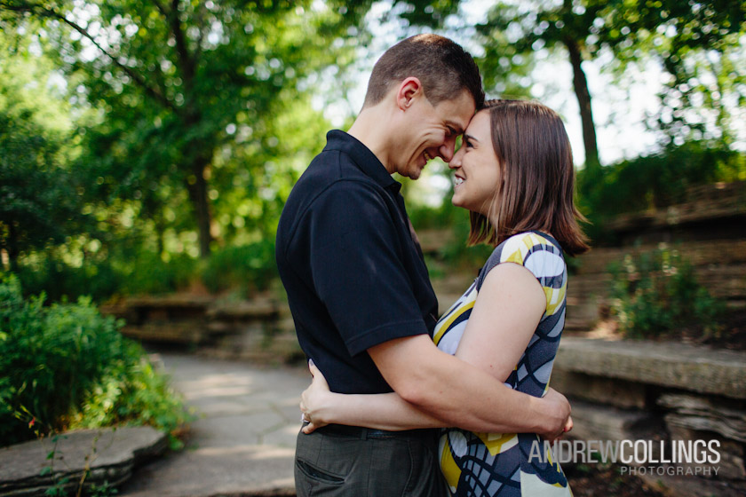 Engagement portrait on location. Alfred Caldwell Lily Pool in Lincoln Park, Chicago, IL. June 2, 2012.
