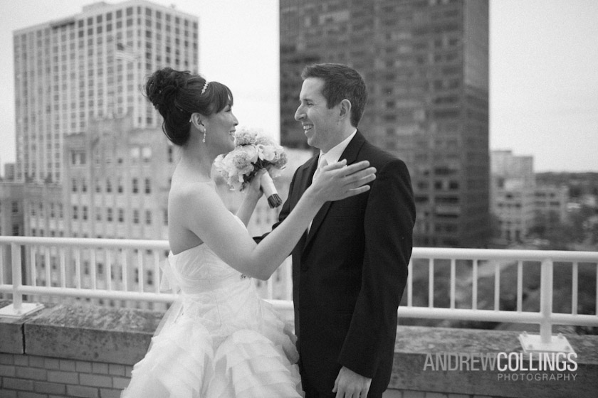 Wedding photograph at Hilton Orrington, Evanston, IL. May 12, 2012