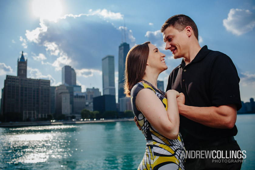 Engagement portrait on location. Chicago lakefront at Milton Olive Park near Navy Pier, Chicago, IL. June 2, 2012.