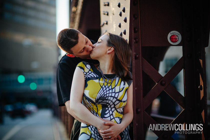 Engagement portrait on location. Chicago River/Franklin Street Bridge, Chicago, IL. June 2, 2012.