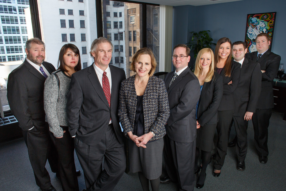 Group photograph of law firm Weldon-Linne & Vogt. February 1, 2013. Photo by Andrew Collings.