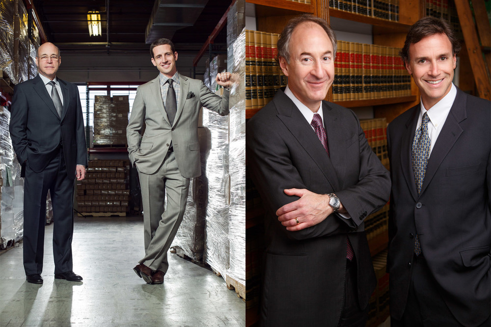 Left: Father and Son Jeff and Micah Gerchenson of Alva-Amco Pharmacal Inc photographed at their warehouse in NIles IL. April 5, 2011. Photo by Andrew Collings.  Right: Goldman & Ehrlich: Arthur R. Ehrlich & Jonathan C. Goldman photographed at Law offices of Goldman & Ehrlich, IL. November 5, 2012. Photo by Andrew Collings.
