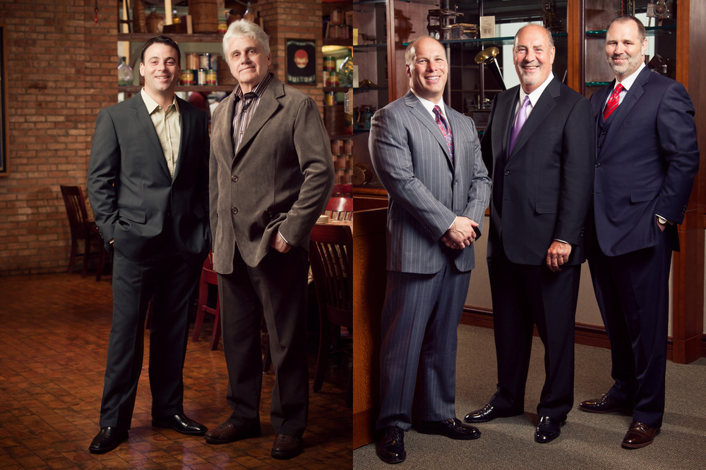Left: Mike and Jimmy Stolfe of Connie's Pizza photographed in their South Archer restaurant in Chicago IL. April 6, 2011. Photo by Andrew Collings.  Right: Attorneys of Niro Haller & Niro photographed at their offices in Chicago IL. April 6, 2011. Photo by Andrew Collings.