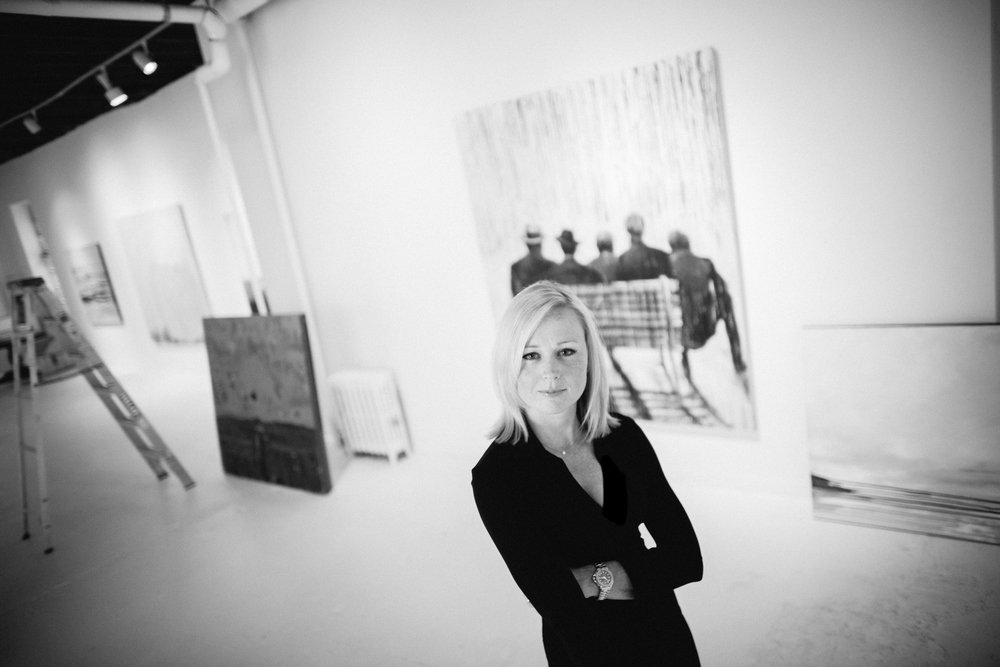 Art Consultant in Gallery Portrait Black and White