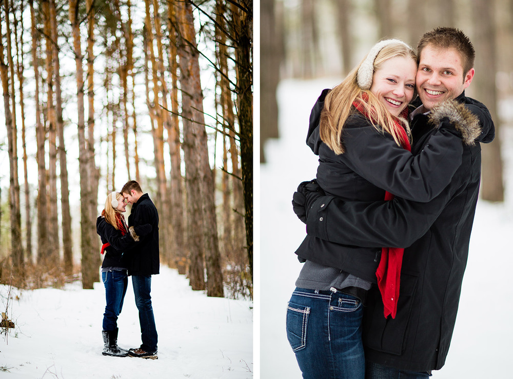Outdoor Minnesota winter engagement session