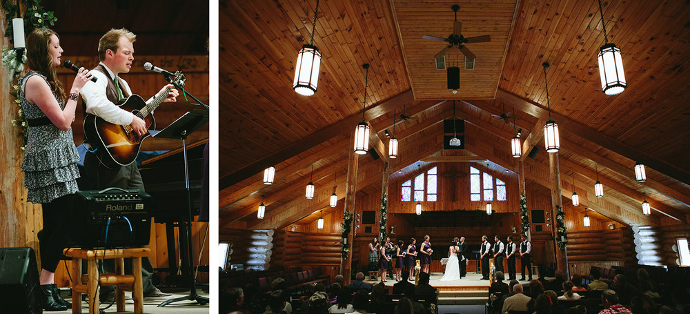 wedding at the log church in crosslake, mn