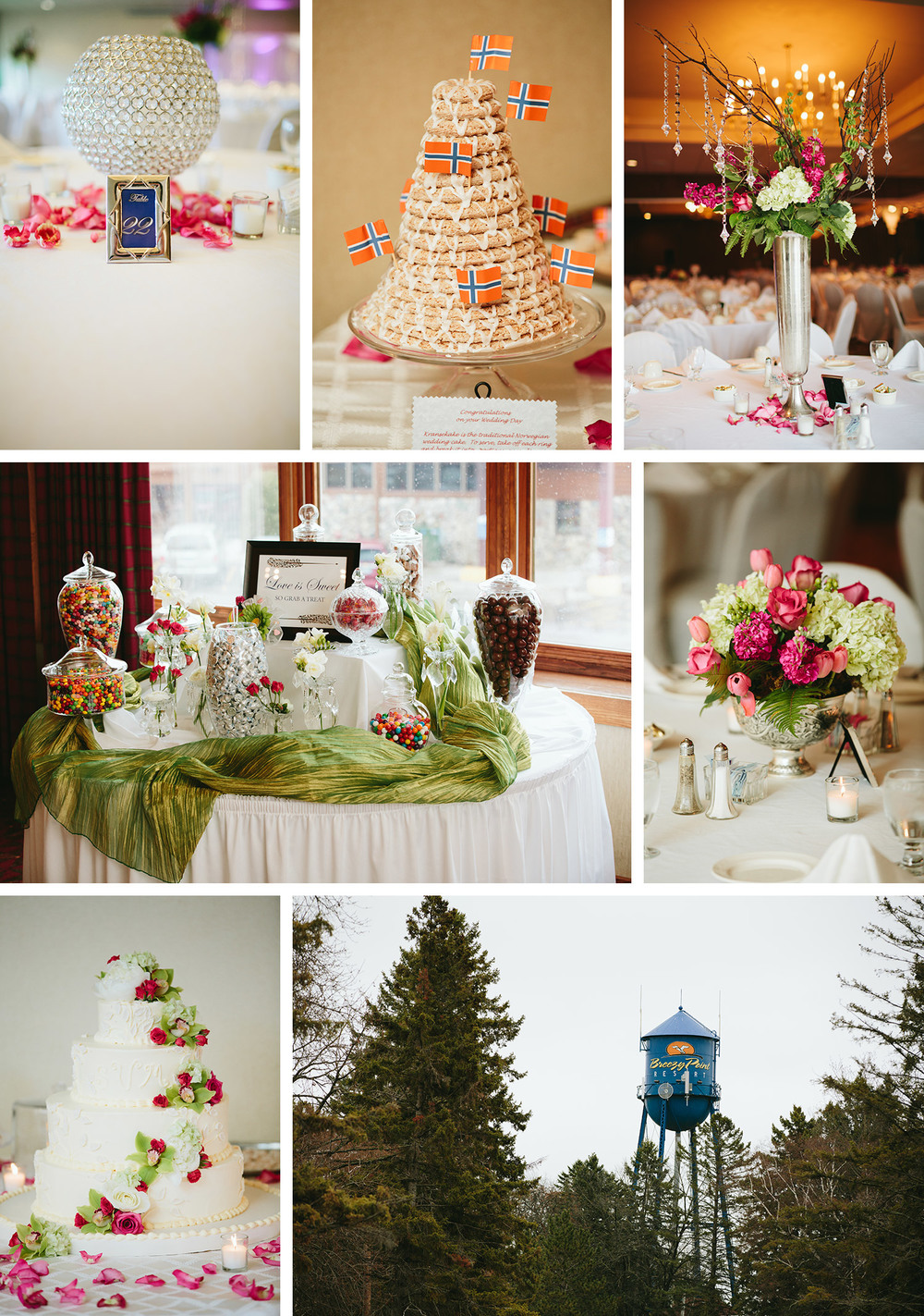 Breezy Point Resort reception with flowers by Celebration Floral Design