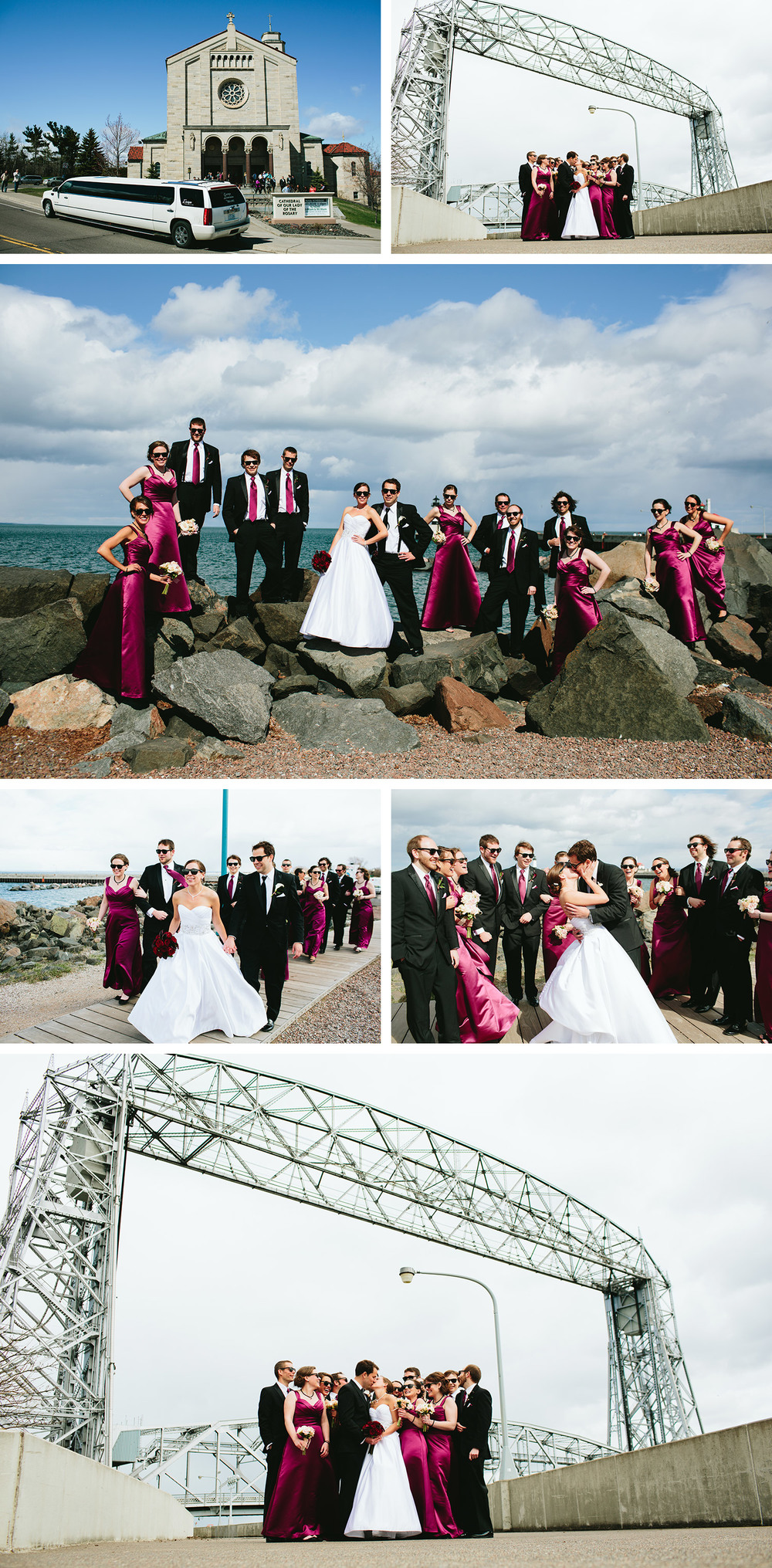 Canal Park Wedding party images with the lift bridge