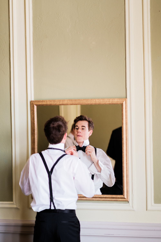 Groom getting ready at Greysolon Ballroom