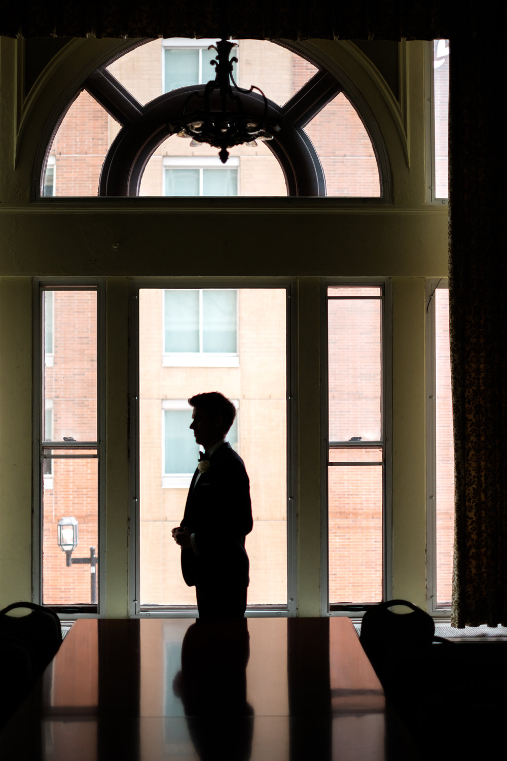 groom silhouette at greysolon ballroom in duluth