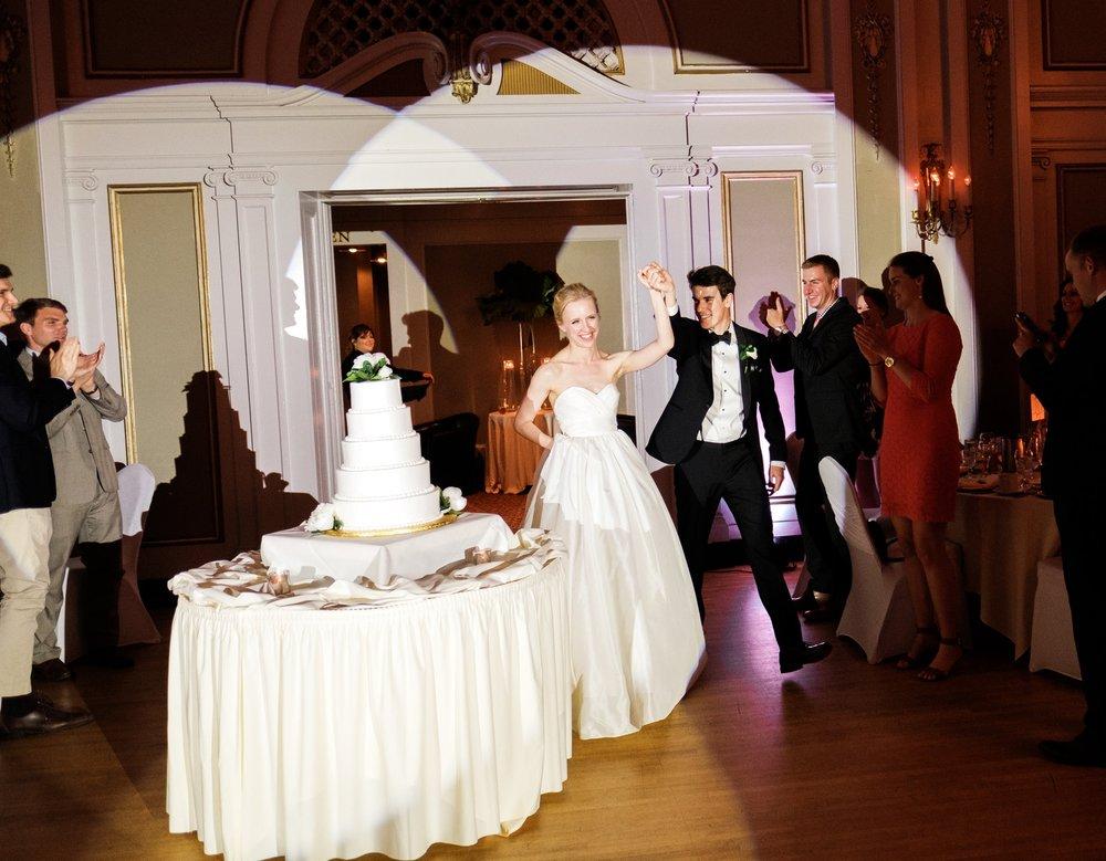 wedding couple announced into their wedding reception at the greysolon ballroom