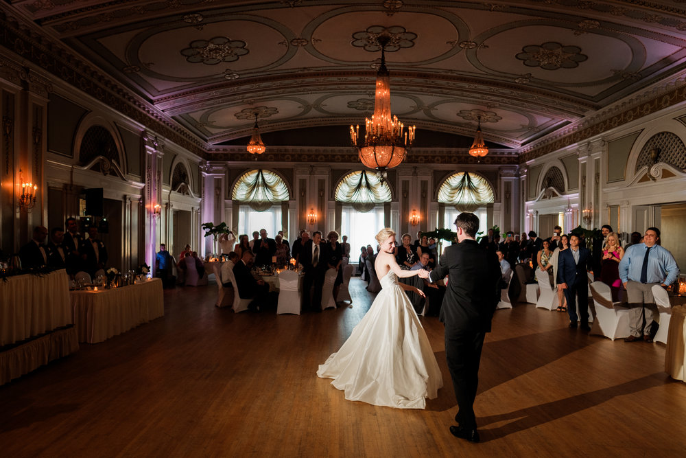 wedding couple's first dance at the greysolon ballroom in duluth, mn