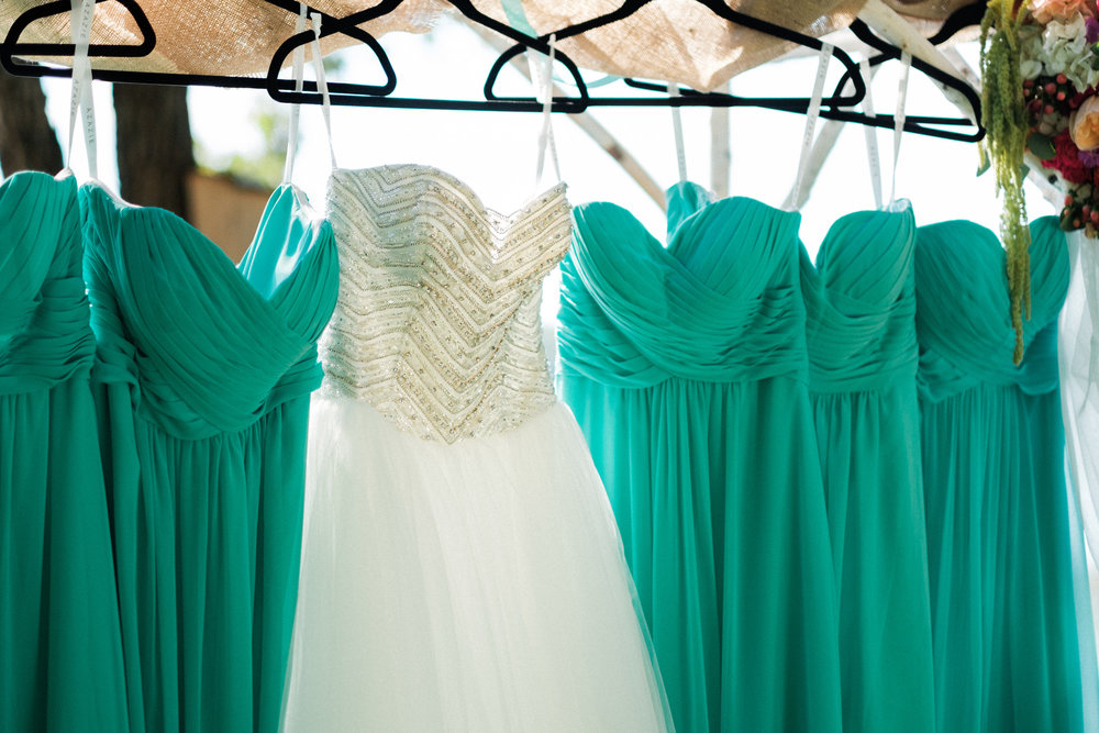 brides dress on display at her brainerd wedding