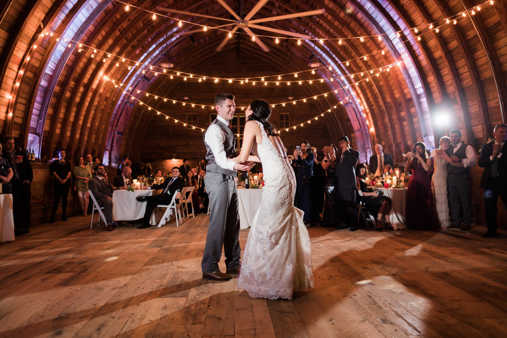 minnesota barn wedding first dance in hay loft