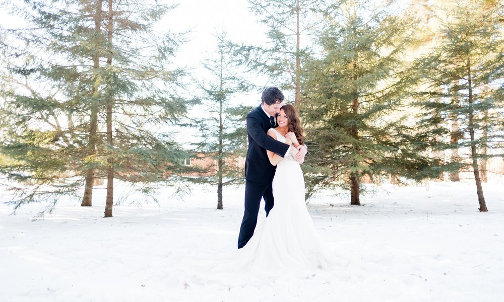 bride and groom outdoor winter portraits in brainerd, mn