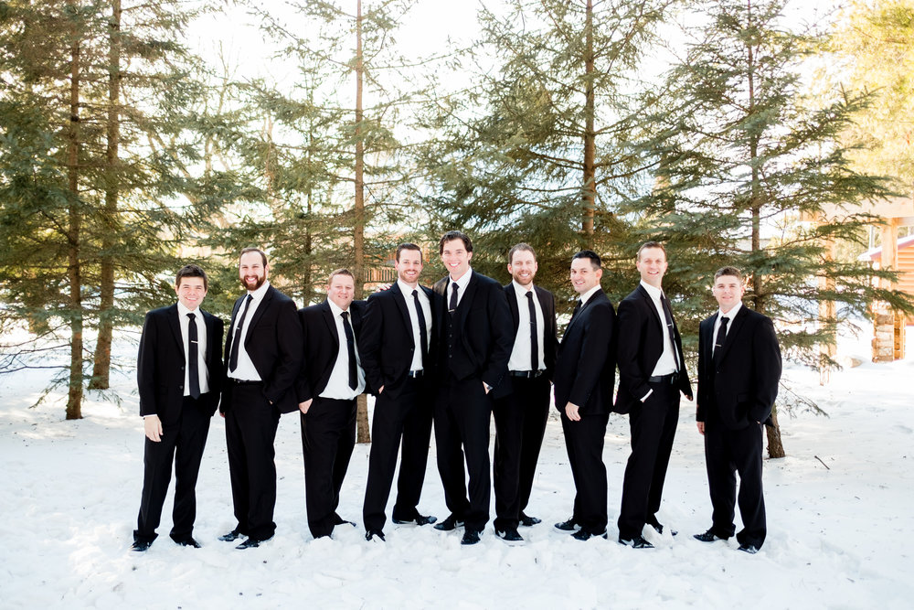 wedding party images at pine peaks event center in crosslake, mn in the winter