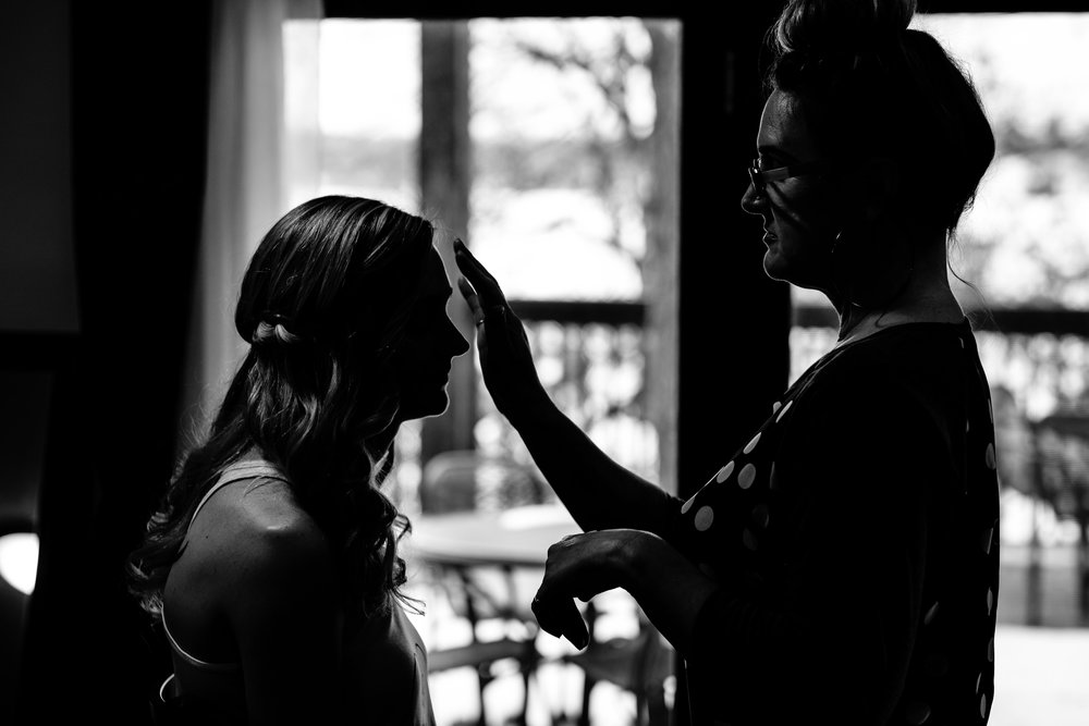 Captivating Beauty wedding make-up onsite at Cragun's Resort in Brainerd