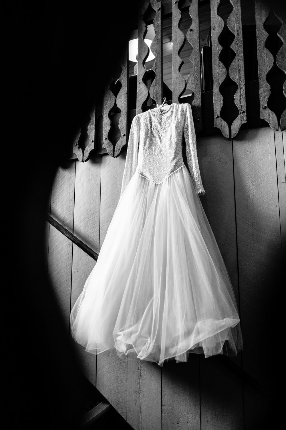 wedding dress in Cragun's resort lobby on the brainerd wedding day