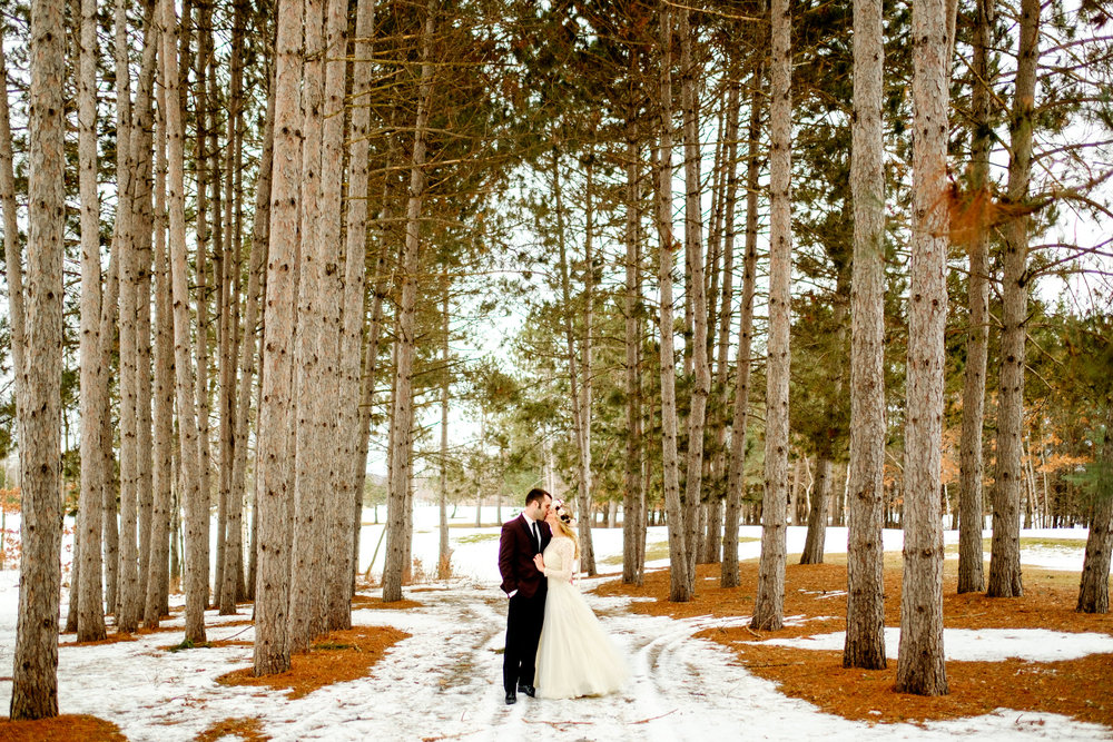 winter wedding images in Brainerd, MN