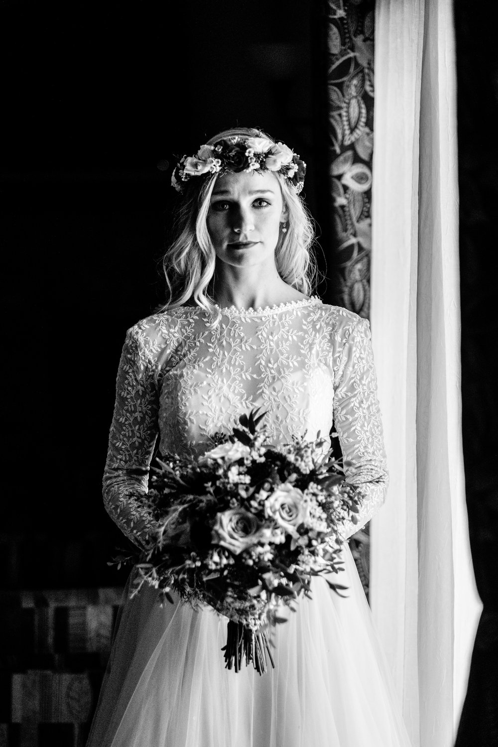 bride waiting to walk down the aisle of her winter cragun's wedding