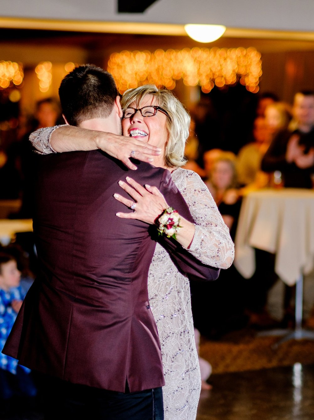 boho mother son wedding dance at cragun's resort