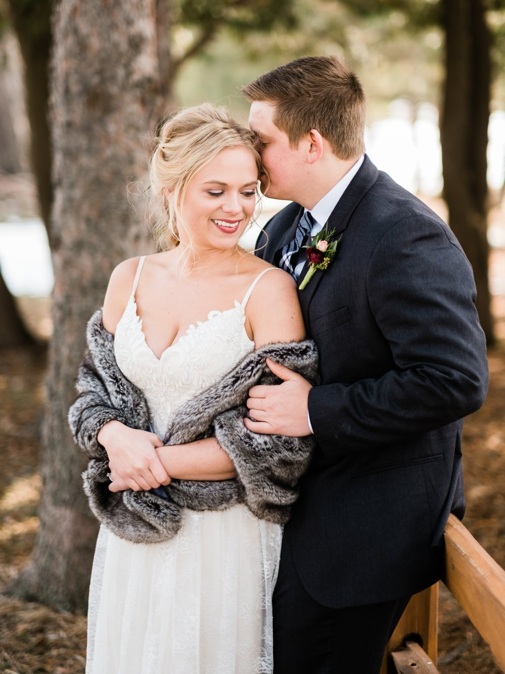 bride and groom in love at pine peaks event center
