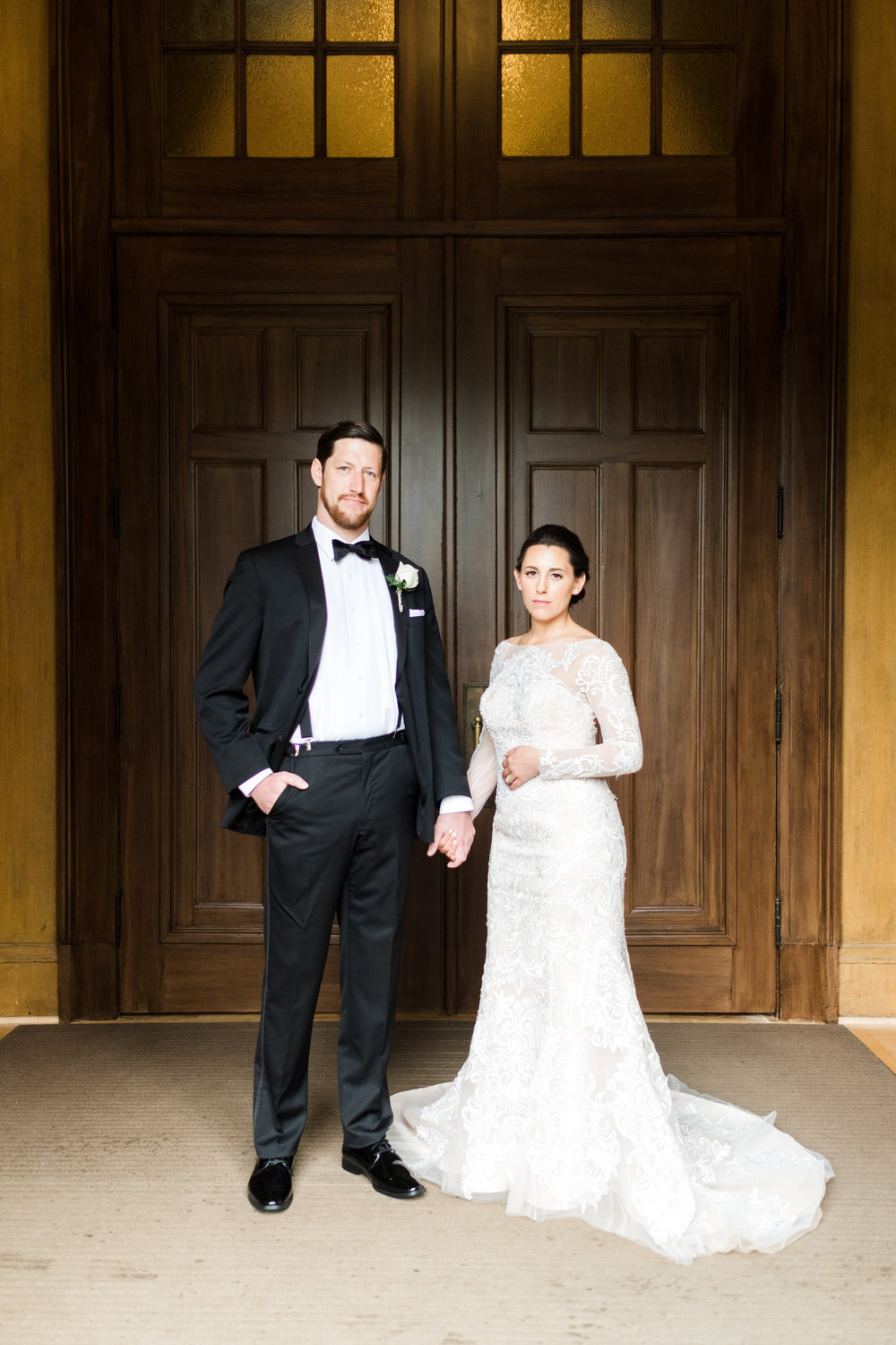 Bride and groom portrait in downtown Saint Paul's Our Lady of the Assumption parish