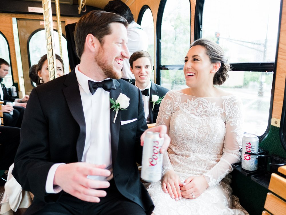 Wedding day trolley in Saint Paul, MN