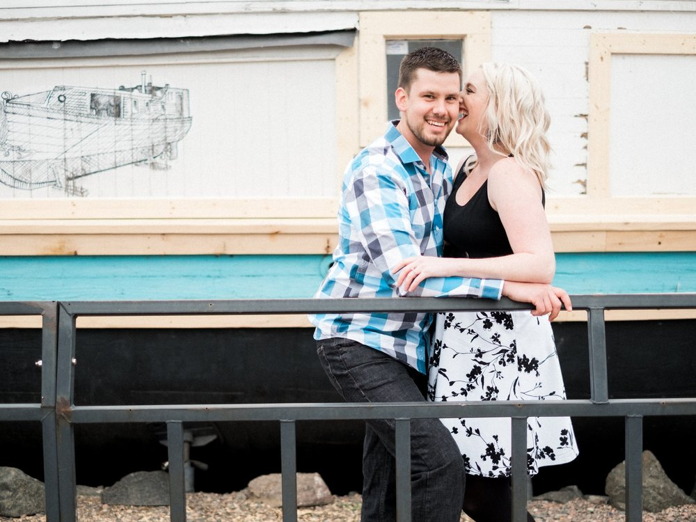 Duluth boardwalk engagement session in Canal Park