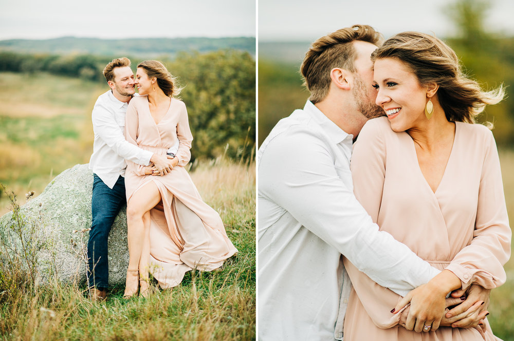 Prairie, Pink engagement session with a puppy in MN