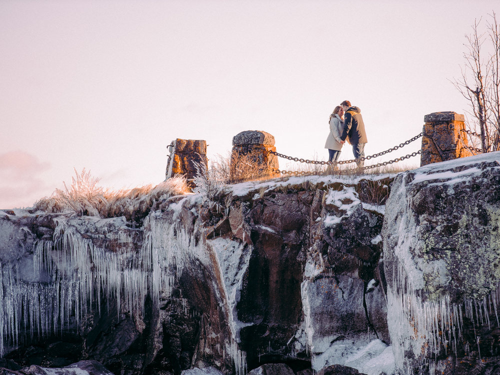 Gooseberry Falls Winter Engagement Session in Minnesota