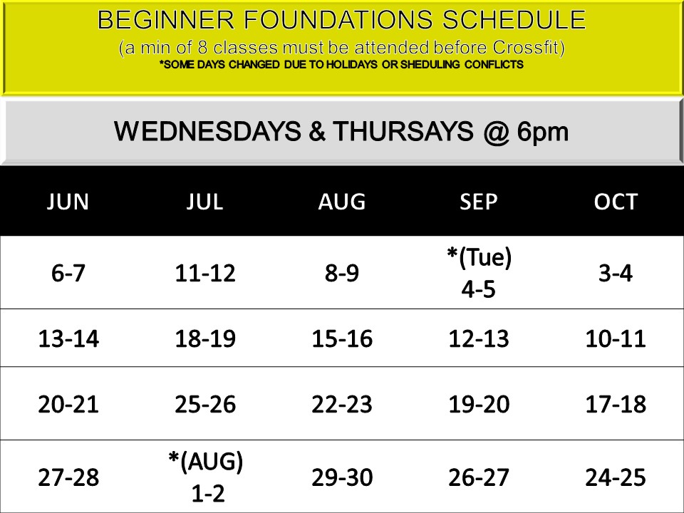 BEGINNERS - *8 cLASSES FOR ONLY $75Starting the 1st Wednesday of each month unless otherwise stated due to scheduling conflicts. None in November and December due to Holiday conflicts.CONTACT US TO SECURE A SPOTEMAIL: KIM@ENDLESSCROSSFIT.COMMust attend all 8 classes, if miss one, you are subject to redoing missed class(es) before attending Crossfit unless waived by Mike or Kim
