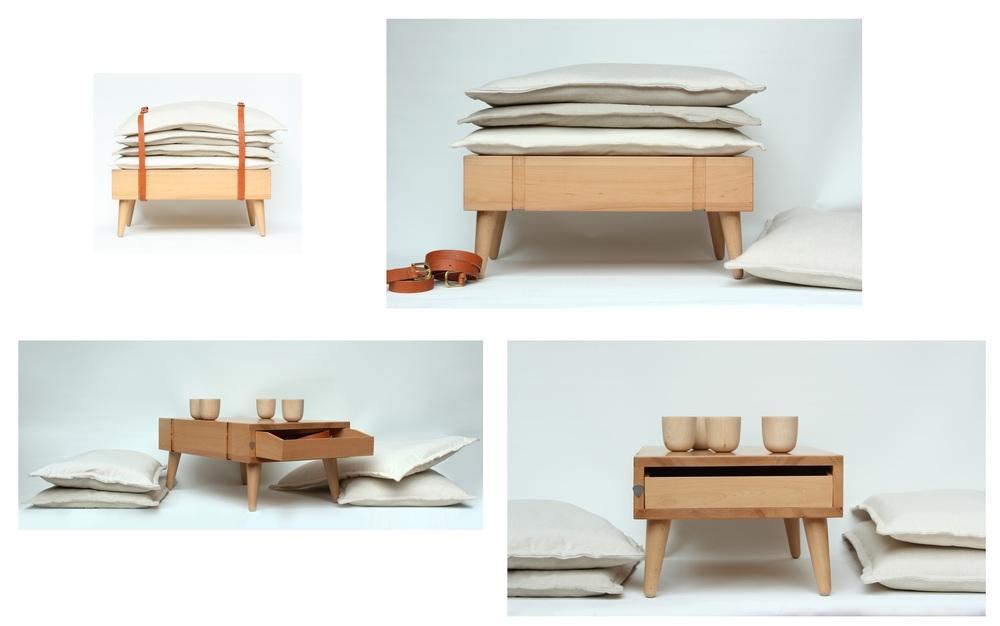 Banquete que é uma mesa de chá ou banco, do escritório espanhol Micomoler Estudio