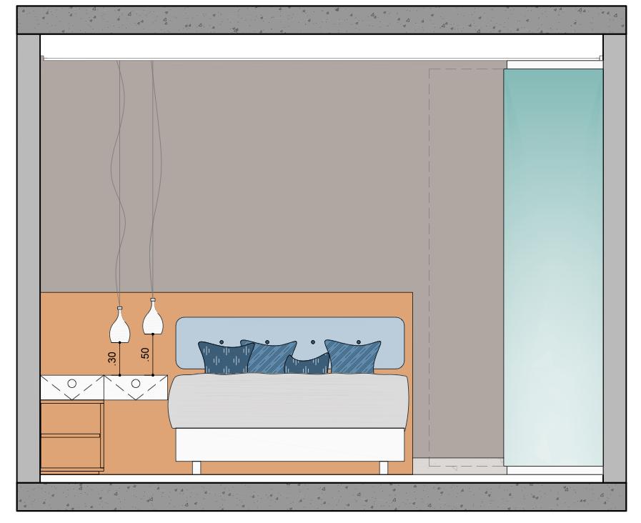 Altura para instalação de Pendentes em Criado Mudo ou Mesa Lateral  Imagem: Arquivo Pessoal