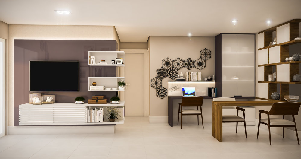 Sala de Tv e Home Office  Apto Jardim das Perdizes / SP - 150m2  Projeto: Madi Arquitetura & Design  Imagem: Érica Alfieri