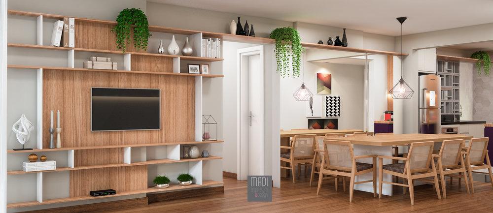 Sala de Tv e Jantar integradas à Cozinha  Apto Maria Figueiredo - Paraíso - São Paulo/SP  Projeto: Madi Arquitetura & Design  Imagem: Érica Alfieri