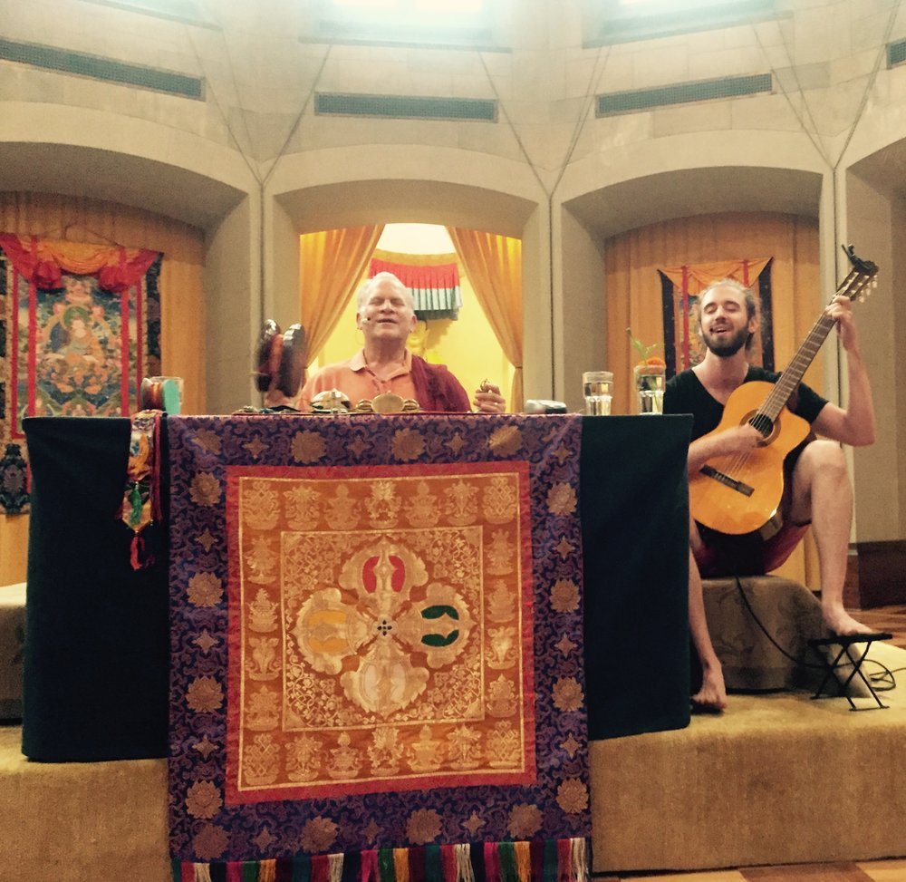 Ben singing with Lama Surya Das, annual Dzogchen retreat at Garrison Institute, Summer 2017