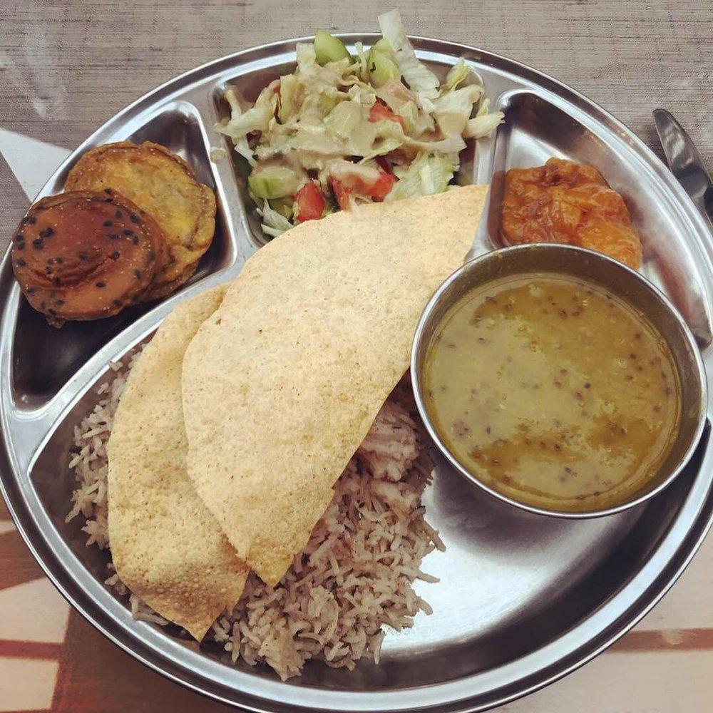 Fresh, delicious vegan and vegetarian food served daily at Radhadesh