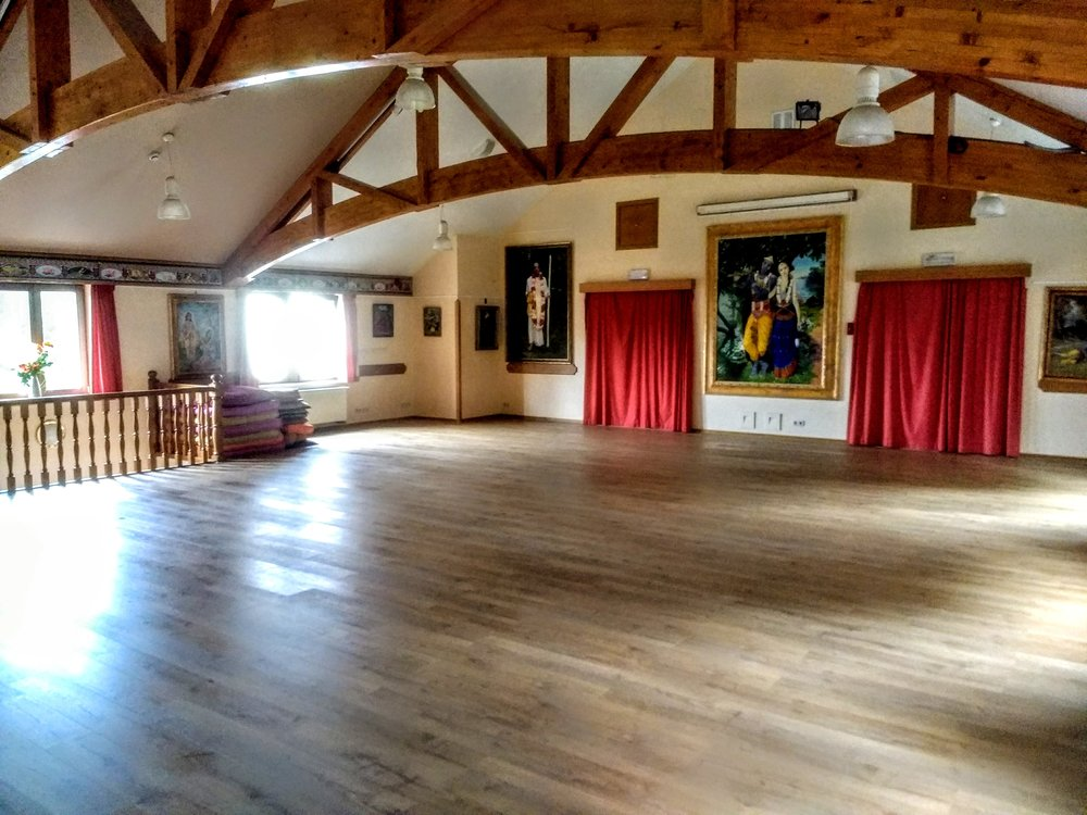 The hall for Yoga is spacious, beautiful, and has a great acoustic.
